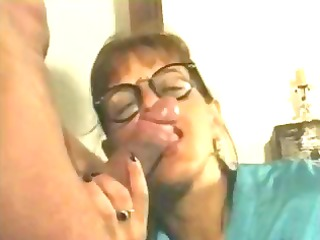 nasty brunette older french slut munches on his