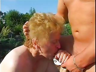 plump granny drilled in garden