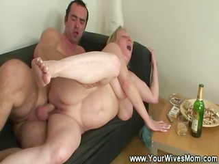 mother in law sucks and acquires cummed on