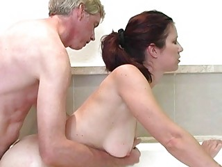 hawt redhead milf with large breasts receives