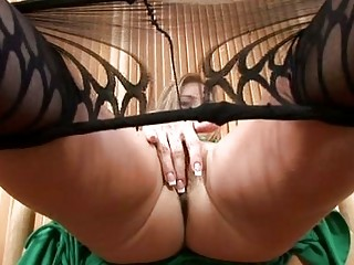 sexy mother i in pantyhose strips and masturbates