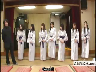 subtitled group of japanese milfs undress for