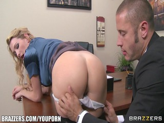 breasty blond boss supplicates her employee to