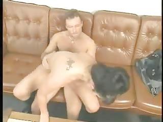 lascivious brunette lady bonks on the sofa