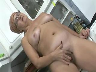 grandma jacks her love tunnel in the kitchen