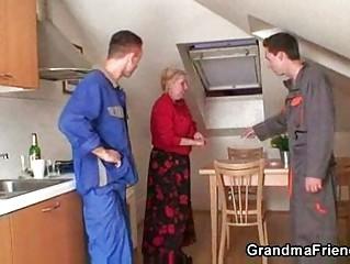 repairmen team fuck breasty grandma from both