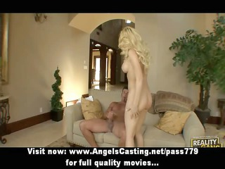 superb gorgeous blonde angel with large fake milk
