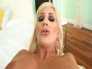 breasty blond milf sucks on his pecker and then