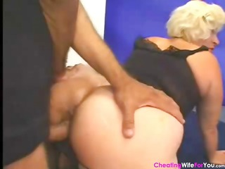 older golden-haired wife with a nifty booty blows