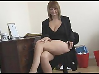 breasty aged blonde secretary strips and widens