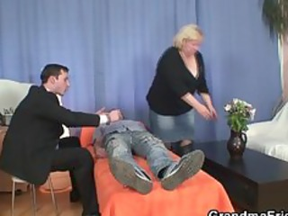 gives double oral sex and gets doggystyle fucked