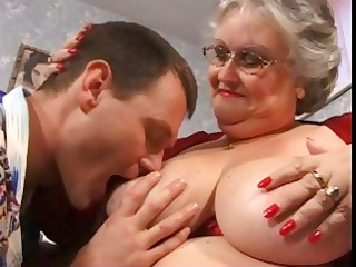 overweight grandma in red with large mounds