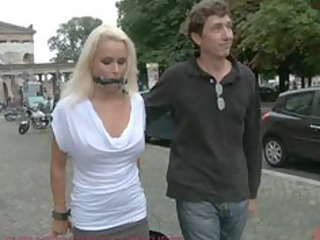 pretty german milf tied and fucked in public