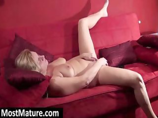 aged golden-haired is fingering and toying her