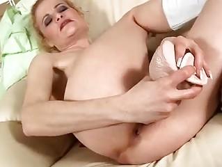 aged golden-haired bonks sex toy
