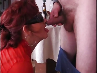 aged whore drinking and sucking cock!