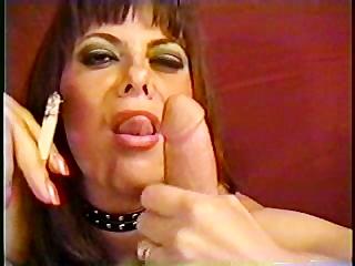 aged woman sucking smoke and manmeat