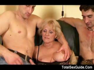 granny in boots with large marangos acquires a