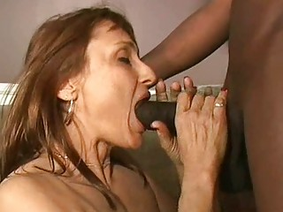 hot milf gives blowjob to black rod