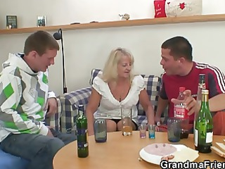 blond granny in hawt three-some orgy