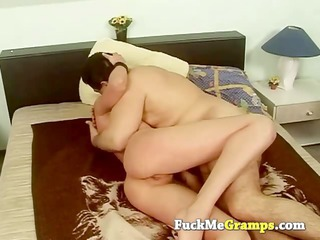 granddad enjoys trio small tits