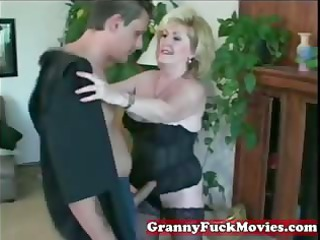 crazy blonde granny with younger guy