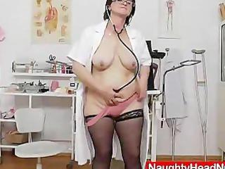 brunette hair practical nurse examining her wet