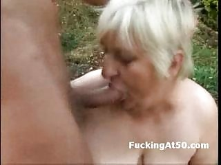 excited fat granny blowjob and drilled by the