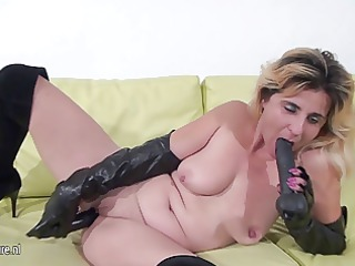 amateur housewife playing with her peculiar toys