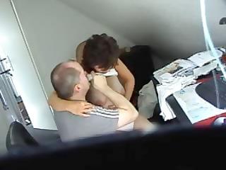 horny brunette hair secretary acquires caught on