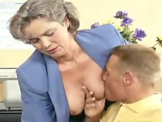 avid old mommy receives cock drilled and office