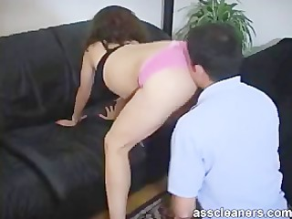 slutty lad licks a wild female-dominant a-hole
