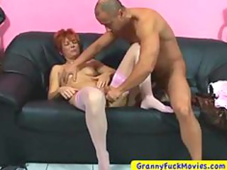 granny sucking cock whilst rubbing pussy