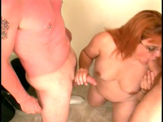 skanky older broad sucks youthful boy-friends
