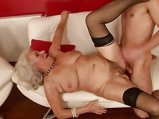 lusty busty granny fucking with a lad