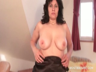 brunette hair tempting aged rubbing muff from