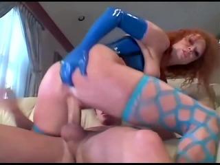 redhead fucking in nylons and latex underware