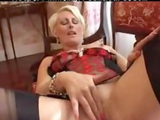 pierced granny in black fully fashioned nylons
