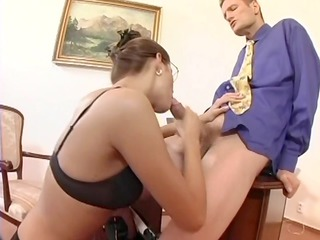 nerdy secretary sex in thigh high stockings