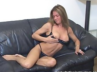 female-dom shows her melons and rubs herself for