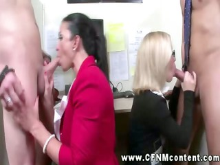 chic dressed secretaries aid their bosses to