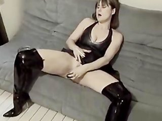 sexy wife in boots plays with sex toy then bonks