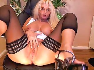large tit blond aged playing on web camera - part