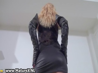 perverted blonde mom in latex loves