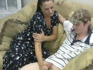slutty mother gives tugjob
