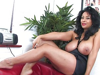 bewitching darksome haired milf with massive