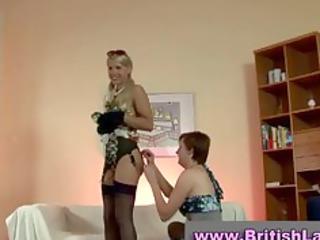 mature british lady dresses blond in nylons