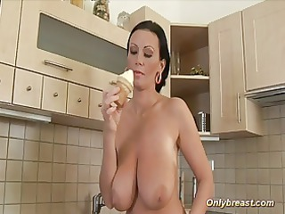 large boobs milf squizing hard and playing with