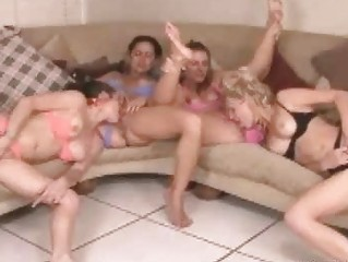 four excited milf ladies having wild lesbian sex