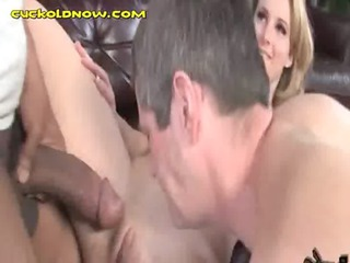 wife fucks bbc white cuckold eats cum